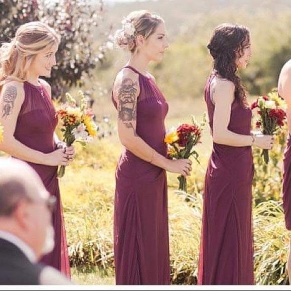 David's Bridal Dresses & Skirts - Size 0 maroon/burgundy bridesmaids dress